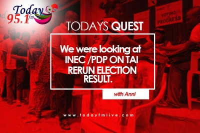 Todays Quest : Listen to reactions as we disscussed INEC on upholding Tai LGA election Result.