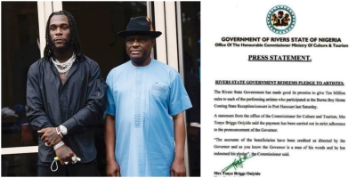 Wike redeems pledge to burnaboy